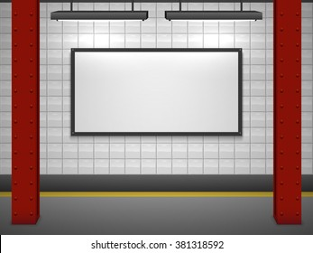 Blank advertising billboard at subway station vector template.