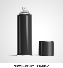 blank aerosol can isolated on white background. 3D illustration.