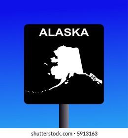 Blank Alaska highway sign on blue illustration