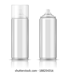Blank aluminium spray can template with transparent cap for paint, hairspray, deodorant, . Packaging collection.