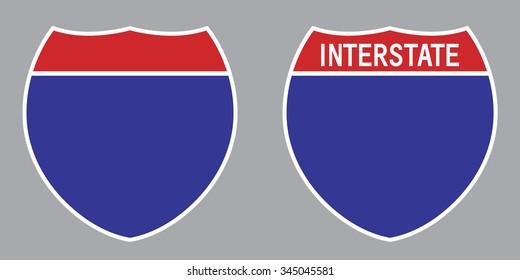 Blank American Interstate Highway set sign . Vector illustration