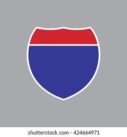 Blank American Interstate Highway sign. Vector illustration