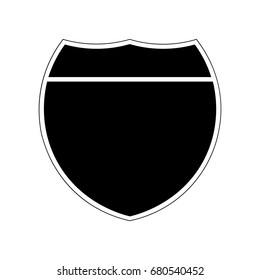 Blank American Interstate Highway sign. Black shield