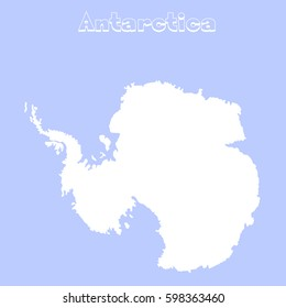 Blank Antarctica map. Flat map illustration for website, design, cover, annual reports, infographics