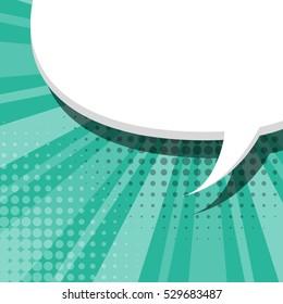 Blank aquamarine comic text balloon template. Clear empty speech bubbles halftone dot style pop art. Dialog empty cloud pop art. Creative idea conversation background sketch explosion