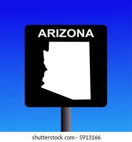Blank Arizona highway sign on blue illustration