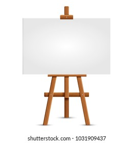 Blank art board and realistic wooden easel. Wooden Brown  Easel with Mock Up Empty Blank Square Canvas Isolated on white background. Vector illustration Presentation board