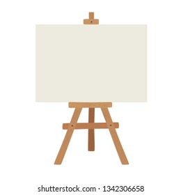 Blank art board and realistic wooden easel. Wooden brown easel with Mock Up empty blank canvas Isolated on white background.