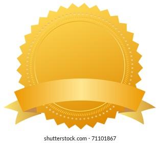 Blank award medal with ribbon