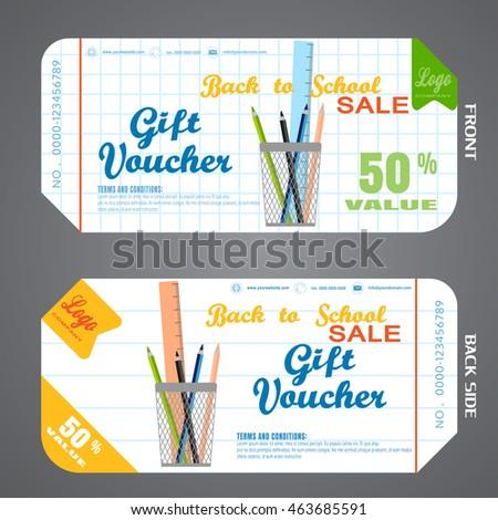 Blank Back School Gift Voucher Vector Stock Vector Royalty Free