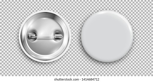 Blank badge, 3d white round button, pin button isolated. Vector template, vector realistic illustration, mockup. -Vector