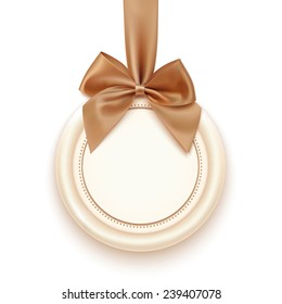 Blank badge with golden ribbon and bow, isolated on white background. Vector illustration