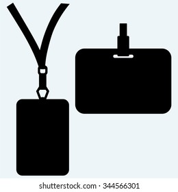 Blank badge with neckband. Isolated on blue background. Vector silhouettes