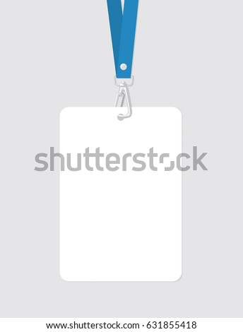 blank badge template blue strap realistic stock vector royalty free