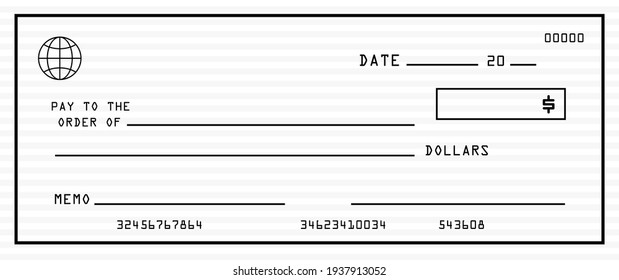 Blank bank check with pattern background vector
