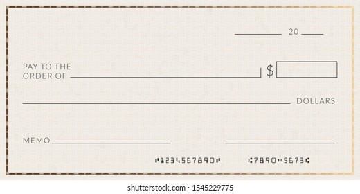 Blank bank check template. Fake cheque page mockup