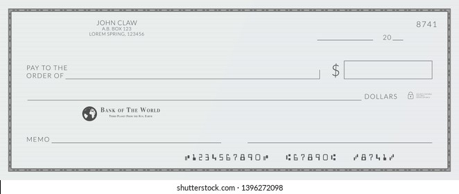 Blank bank cheque. Personal desk check template with empty field to fill