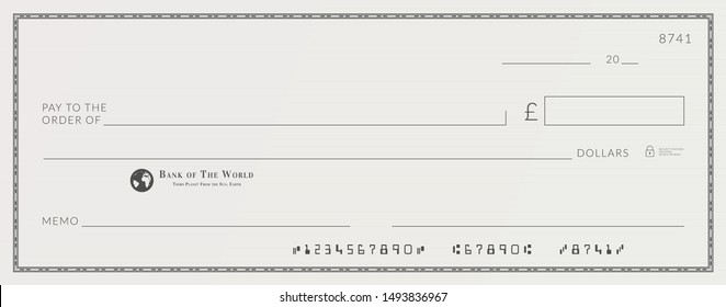 Blank bank cheque template. Check from checkbook.