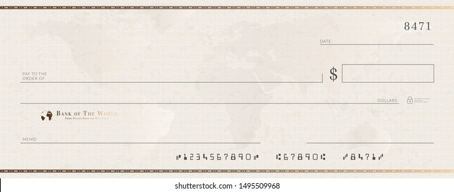 Blank bank cheque template with golden frame. Check from checkbook.
