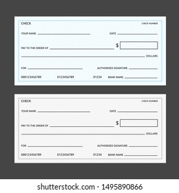 Blank banking checks template with grid and slanted lines patterns in blue and gray colors. Isolated vector illustration