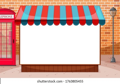 Blank banner with awning in city on brick wall scene illustration