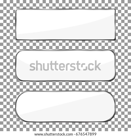 ee8203e7ee6 Blank banner button with silver metal frame isolated on checkered  background. Chrome vector. Blank