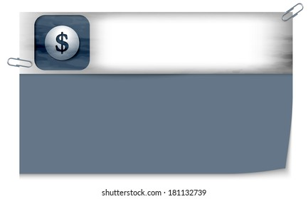 blank banner with dark texture and dollar sign