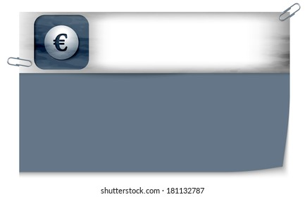 blank banner with dark texture and euro sign