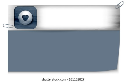 blank banner with dark texture and heart
