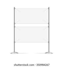Blank Banner Flag White Horizontal. Vector illustration