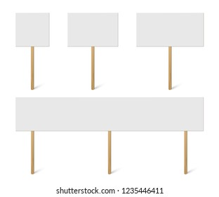 Blank banner mock up on wood stick collection. Vector empty different board plank holder set. Protest signs isolated on white background
