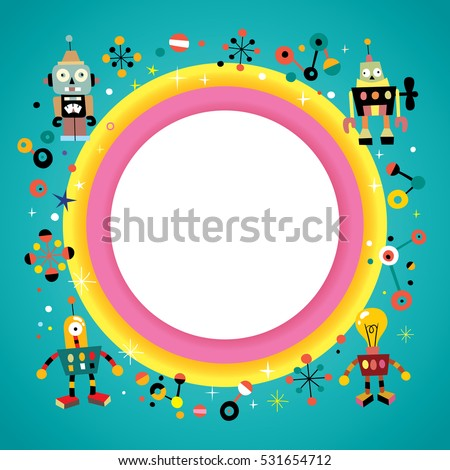Blank Banner Round Frame Border Retro Stock Vector Royalty Free