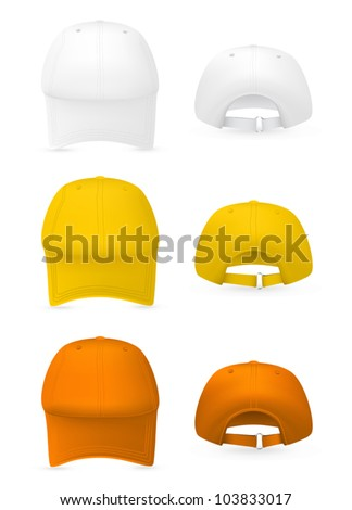 blank baseball hat template front rear stock vector royalty free
