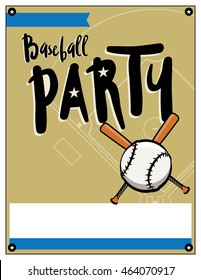A blank baseball themed party invitation template. Vector EPS file is layered.