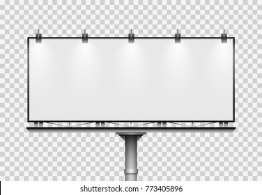 Blank big billboard on transparent background. Mockup for your advertisement and design