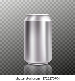 Blank big cold aluminium beer can mockup with drops, 300 ml. Empty fresh soda tin packing mock up with condensate, isolated. Vector illustration