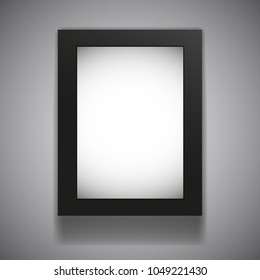 Blank billboard lightbox mock up hanging on grey gradient background. Vector illustration. Black metal frame with luminous empty banner. Outdoor and indoor advertising. Light and shadow.