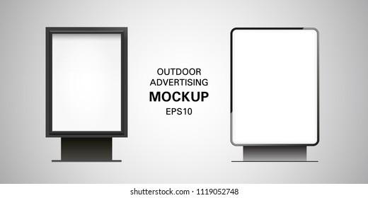 Blank billboard lightbox mockup isolated on gradient background. Vector illustration. Black metal frame. Outdoor advertising. Vertical template advertisement. Realistic design with light and shadow.