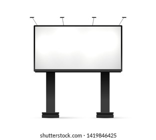 Blank billboard mockup. Vector illustration. Advertising template isolated on white background. Outdoor mechanical advertisement construction. Empty place for banner, print, poster. Board at road.