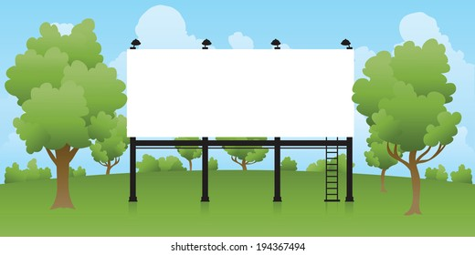 A blank billboard, ready for text, surrounded by trees.