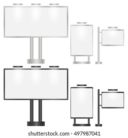 Blank billboard. A set of street advertising panels promotions. Suitable for images of your products and offers. Vector illustration.