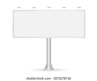 Blank Billboard. Vector 3d realistic. Empty billboard with illumination isolated on white. Big wide banner for advertising. Screen for presentation and design. Mockup. Front view. Close up. EPS 10.