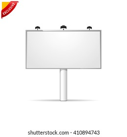Blank billboard, vector mockup billboard, isolated outdoor advertisement templat