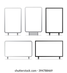 Blank billboards and outdoor advertisement templates isolated. Vector set.