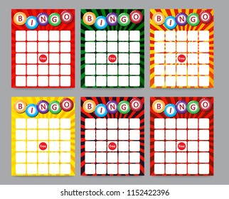 blank bingo cards, vector format set