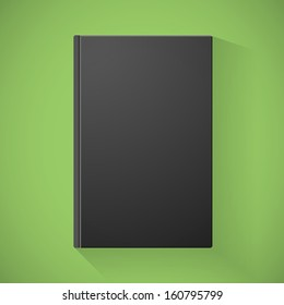 Blank black book cover on green background for your design