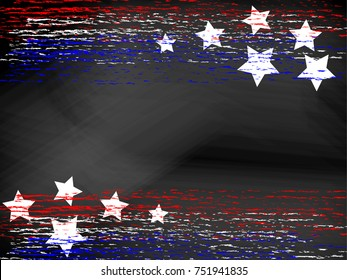 Blank black chalkboard / blackboard with red white and blue patriotic chalk lines and stars. Vector format. Useful for 4th of July or Memorial Day projects. Plenty of copyspace for your text