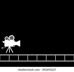 Blank Black Cinema Background Old Camera 35 Mm Film Roll On Wallpaper With Aged Video