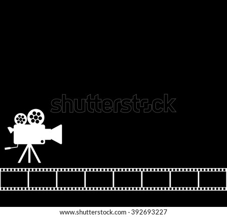 Blank Black Cinema Background Old Camera Image Vectorielle De Stock