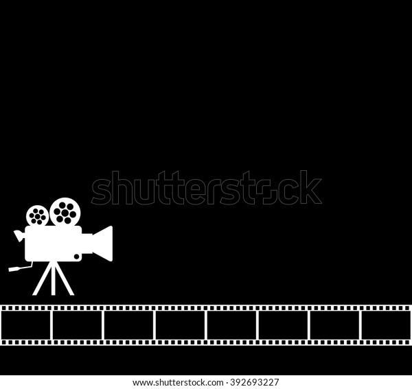 Blank Black Cinema Background Old Camera Stock Vector Royalty